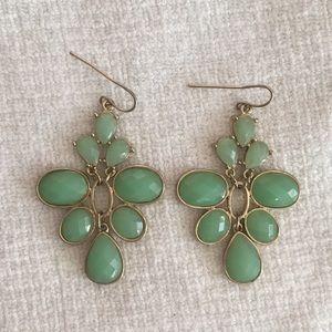Jade tone gold wrapped dangle earrings